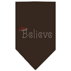 Mirage Pet Products Believe Rhinestone Bandana Cocoa Large