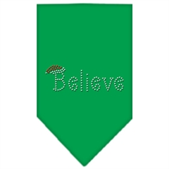 Mirage Pet Products Believe Rhinestone Bandana Emerald Green Large