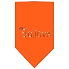 Mirage Pet Products Believe Rhinestone Bandana Orange Small