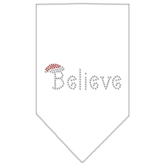 Mirage Pet Products Believe Rhinestone Bandana White Large