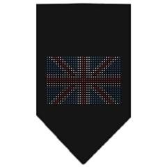 Mirage Pet Products British Flag Rhinestone Bandana Black Large