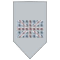 Mirage Pet Products British Flag Rhinestone Bandana Grey Large