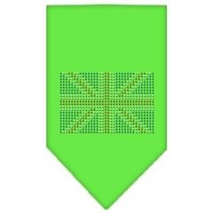 Mirage Pet Products British Flag Rhinestone Bandana Lime Green Large