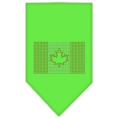 Mirage Pet Products Canadian Flag Rhinestone Bandana Lime Green Large