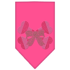 Mirage Pet Products Candy Cane Crossbones Rhinestone Bandana Bright Pink Small