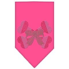 Mirage Pet Products Candy Cane Crossbones Rhinestone Bandana Bright Pink Large