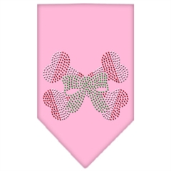 Mirage Pet Products Candy Cane Crossbones Rhinestone Bandana Light Pink Small