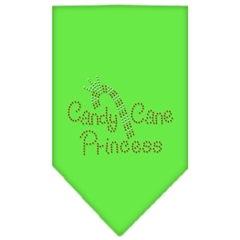 Mirage Pet Products Candy Cane Princess Rhinestone Bandana Lime Green Large