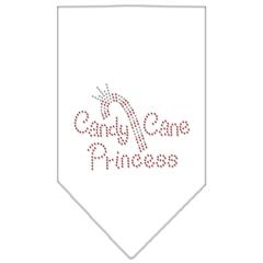 Mirage Pet Products Candy Cane Princess Rhinestone Bandana White Large