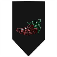 Mirage Pet Products Chili Pepper Rhinestone Bandana Black Large