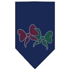Mirage Pet Products Christmas Bows Rhinestone Bandana Navy Blue large