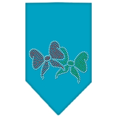 Mirage Pet Products Christmas Bows Rhinestone Bandana Turquoise Small