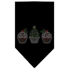 Mirage Pet Products Christmas Cupcakes Rhinestone Bandana Black Small