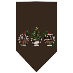 Mirage Pet Products Christmas Cupcakes Rhinestone Bandana Cocoa Small
