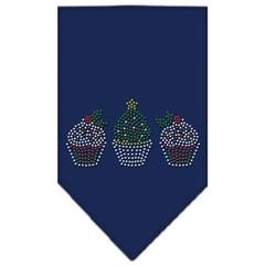 Mirage Pet Products Christmas Cupcakes Rhinestone Bandana Navy Blue large