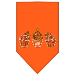 Mirage Pet Products Christmas Cupcakes Rhinestone Bandana Orange Large