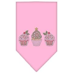 Mirage Pet Products Christmas Cupcakes Rhinestone Bandana Light Pink Small
