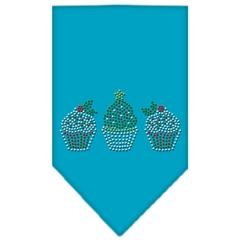 Mirage Pet Products Christmas Cupcakes Rhinestone Bandana Turquoise Large