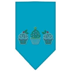 Mirage Pet Products Christmas Cupcakes Rhinestone Bandana Turquoise Small