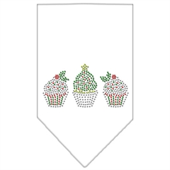 Mirage Pet Products Christmas Cupcakes Rhinestone Bandana White Small