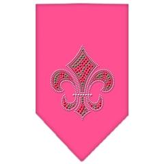 Mirage Pet Products Christmas Fleur De Lis Rhinestone Bandana Bright Pink Large