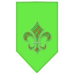 Mirage Pet Products Christmas Fleur De Lis Rhinestone Bandana Lime Green Small