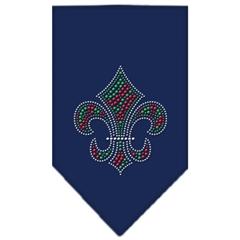 Mirage Pet Products Christmas Fleur De Lis Rhinestone Bandana Navy Blue Small