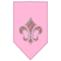 Mirage Pet Products Christmas Fleur De Lis Rhinestone Bandana Light Pink Large