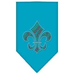Mirage Pet Products Christmas Fleur De Lis Rhinestone Bandana Turquoise Large