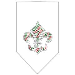 Mirage Pet Products Christmas Fleur De Lis Rhinestone Bandana White Small