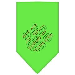 Mirage Pet Products Christmas Paw Rhinestone Bandana Lime Green Small