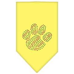 Mirage Pet Products Christmas Paw Rhinestone Bandana Yellow Small