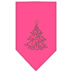 Mirage Pet Products Christmas Tree Rhinestone Bandana Bright Pink Large