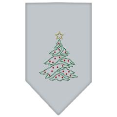 Mirage Pet Products Christmas Tree Rhinestone Bandana Grey Small
