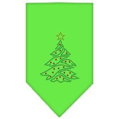 Mirage Pet Products Christmas Tree Rhinestone Bandana Lime Green Large