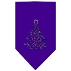 Mirage Pet Products Christmas Tree Rhinestone Bandana Purple Large
