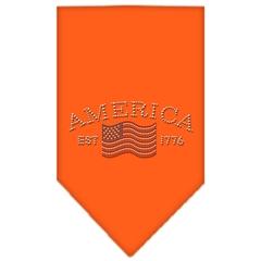 Mirage Pet Products Classic American Rhinestone Bandana Orange Small