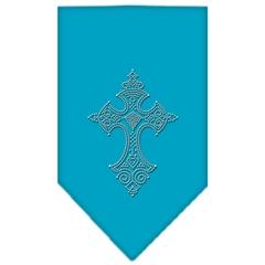 Mirage Pet Products Cross Rhinestone Bandana Turquoise Small
