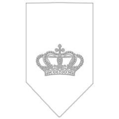 Mirage Pet Products Crown Rhinestone Bandana White Large