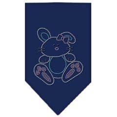 Mirage Pet Products Bunny Rhinestone Bandana Navy Blue Small