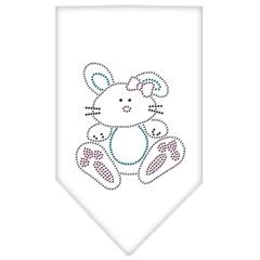Mirage Pet Products Bunny Rhinestone Bandana White Large