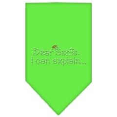 Mirage Pet Products Dear Santa Rhinestone Bandana Lime Green Small
