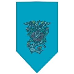 Mirage Pet Products Eagle Rose Rhinestone Bandana Turquoise Small