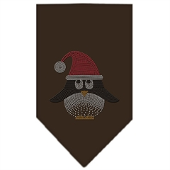Mirage Pet Products Santa Penguin Rhinestone Bandana Brown Large