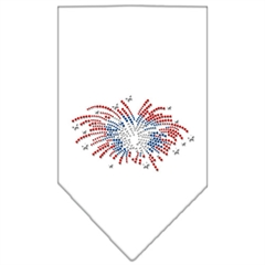 Mirage Pet Products Fireworks Rhinestone Bandana White Large