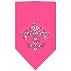 Mirage Pet Products Mardi Gras Fleur De Lis Rhinestone Bandana Bright Pink Small