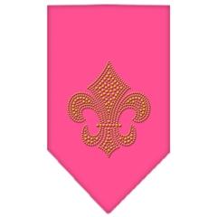 Mirage Pet Products Fleur De Lis Gold Rhinestone Bandana Bright Pink Small