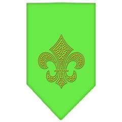Mirage Pet Products Fleur De Lis Gold Rhinestone Bandana Lime Green Large