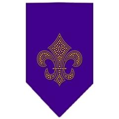 Mirage Pet Products Fleur De Lis Gold Rhinestone Bandana Purple Small