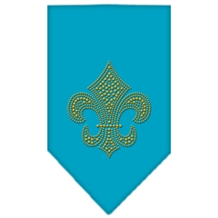 Mirage Pet Products Fleur De Lis Gold Rhinestone Bandana Turquoise Large
